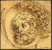 CARRACCI, Agostino Head of a Faun in a Concave (roundel) dsf China oil painting reproduction