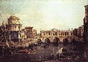 Canaletto Capriccio: The Grand Canal, with an Imaginary Rialto Bridge and Other Buildings fg China oil painting reproduction