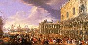 Luca Carlevaris Entry of the Earl of Manchester into the Doge's Palace China oil painting reproduction