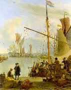 Ludolf Backhuysen The Y at Amsterdam viewed from Mussel Pier China oil painting reproduction
