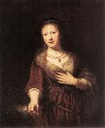 REMBRANDT Harmenszoon van Rijn Portrait of Saskia with a Flower China oil painting reproduction
