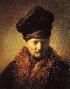 REMBRANDT Harmenszoon van Rijn Bust of an Old Man in a Fur Cap fj China oil painting reproduction