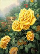 unknow artist Yellow Roses in Garden China oil painting reproduction